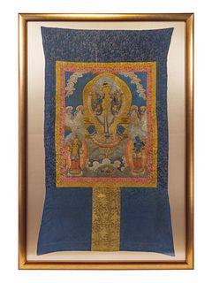 A Tibetan Embroidered Silk Thangka