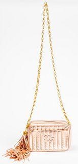 Chanel Pink Metallic Leather Handbag