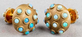 Angela Cummings 18K Gold Round Opal Dome Cufflinks