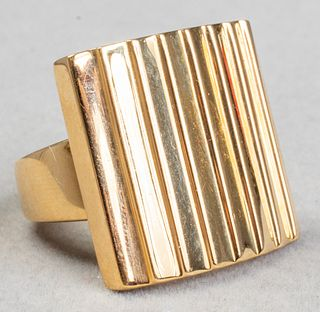 Mid-Century Modern Italian 18K Yellow Gold Ring
