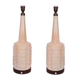 Mid-Century Modern Ceramic Bottle-Form Lamps, Pair