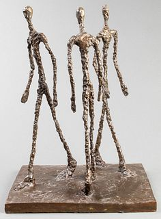 "After Giacometti ""Three Figures"" Bronze Sculpture"