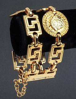 Versace Greek Key & Medusa Gold-Tone Bracelet