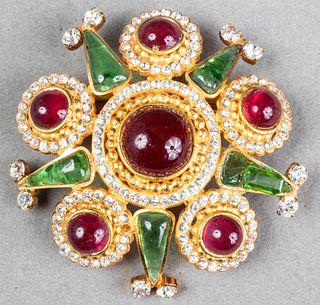 Chanel Attr. Gripoix Glass & Rhinestone Brooch