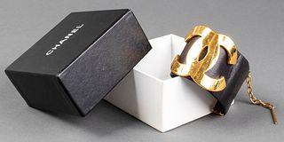 Chanel Leather & Gold-Tone Logo Bracelet, c. 1981