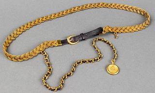 Chanel Gold-Tone Metal & Black Leather Belt