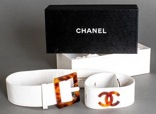 Chanel White Leather Logo Belt