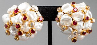 Asprey 18K Gold Diamond, Ruby & Pearl Earrings