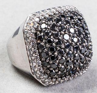 14K White Gold, Black & White Diamond Ring