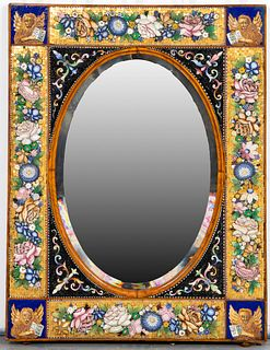 Venetian Italian Micromosaic Glass Inlaid Mirror
