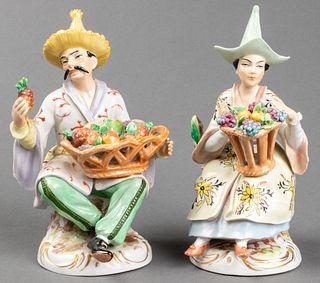Sitzendorf Porcelain Chinoiserie Figures, Pair