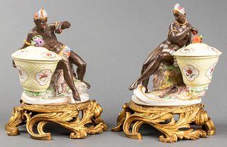 Nymphenberg Gilt Mounted Porcelain Sweetmeats, Pr