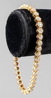 14K Yellow Gold Hexagon Diamond Tennis Bracelet