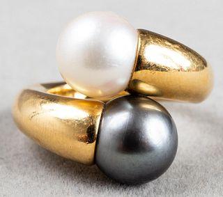 """Cartier 18K Gold """"Perla Toi Et Moi"""" Pearl Ring"""