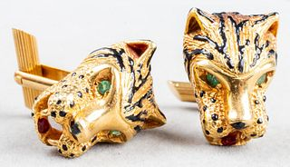 Cartier Attributed 18K Gold Leopard Head Cufflinks