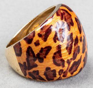 Italian 14K Yellow Gold Leopard Print Enamel Ring