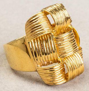 Italian 18K Yellow Gold Woven Motif Wide Ring
