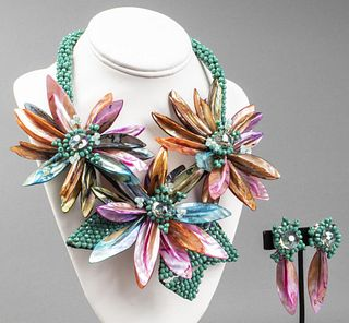 Vilaiwan Floral Shell & Bead Necklace And Earrings
