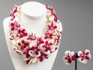 Vilaiwan Floral Stone & MOP Necklace And Earrings
