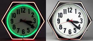 Mid-Century Modern Large Neon Wall Clock