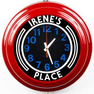 Irene's Place Round Neon Wall Clock