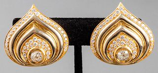 "Marina B. 18K Yellow Gold ""Paon"" Diamond Earrings"