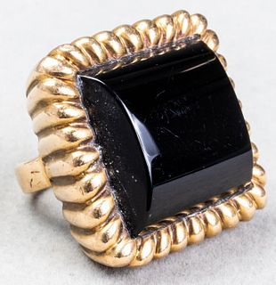Vintage 14K Yellow Gold & Onyx Ring