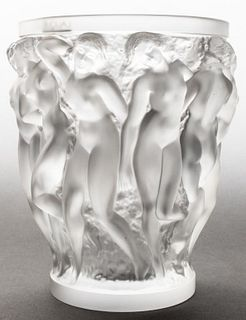 "Lalique ""Bacchantes"" Large Frosted Art Glass Vase"