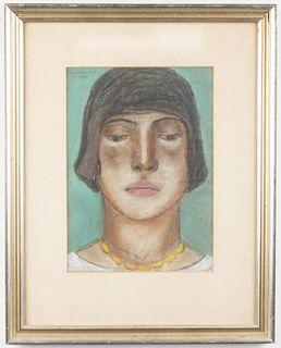 Abraham Walkowitz Pastel Portrait On Paper, 1928