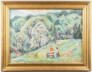 "Marjorie Phillips ""Landscape With Figures"" Oil"