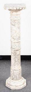 Veined Marble Display Column Pedestal