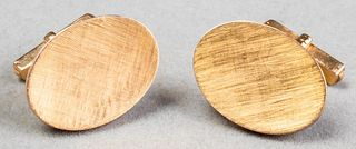 18K Yellow Gold Florentine Finished Oval Cufflinks