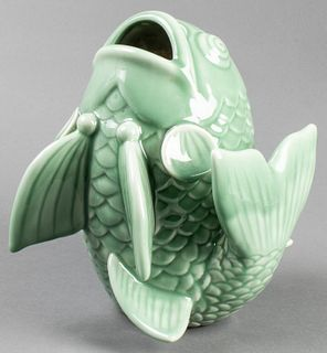 Large Celadon Glazed Fish Form Pottery Vase