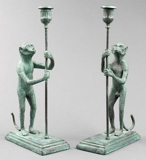 Maitland-Smith Bronze Monkey Candle Holders, Pair