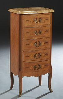 French Louis XV Style Inlaid Carved Mahogany Bowfront Marble Top Chiffonier, 20th c., the bowed rounded edge and corner figured ocher marble over a ba