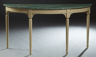 French Louis Philippe Polychromed Demilune Console Table, 19th c., the faux marble top over a wide skirt, on turned tapered legs, now in creme paint,