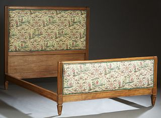 French Carved Beech Louis XVI Style Double Bed, 20th c., the upholstered cushioned headboard within reeded pilaster sides, to wooden rails and a like
