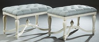Pair of Polychromed Wooden Window Seats, 20th/21st c., the cushioned tufted top over a reeded skirt, on turned tapered octagonal legs joined by a rais