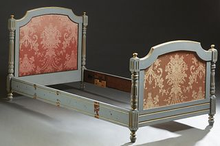 French Carved Polychromed Beech Louis XVI Style Bed, early 20th c., the arched headboard over an upholstered cushioned panel flanked by turned tapered