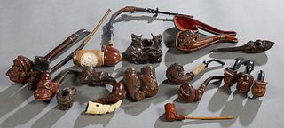 Collection of Eighteen Unusual Wood Pipes, one Meerschaum with a faux wicker bowl; one rosewood example; one Arab example by Vauen; one with a grape c