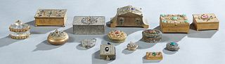 Group of Fourteen Metal Bejeweled Objects, early 20th c., consisting of a circular box; 3 circular compacts; a circular handled pillbox; an oval cover