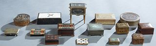 Group of Fifteen Items, early 20th c., consisting of two circular metal boxes; a leather wood lined box , the lid with a Boehm porcelain plaque of a d