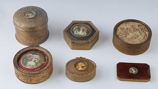Group of Six Brass Plated Dresser Boxes, c. 1930, consisting of three circular examples, one oval example, one rectangular example, and one hexagonal