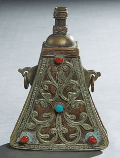 Unusual Arabic Triangular Powder Flask, early 20th c., mounted with cabochon turquoise and coral stones, with relief and incised decoration overall, H