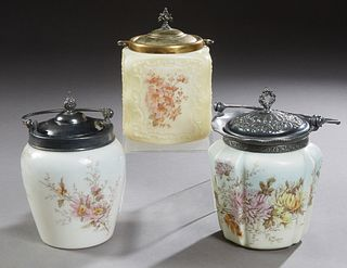 Group of Three Mount Washington Style Glass Biscuit Barrels, 19th c., unmarked, the sides with floral decoration, two in opaline glass, one yellow gla