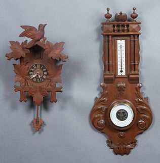 French Carved Beech Henri II Style Barometer, 19th c., with a finial and floral carved crest over a spindled gallery above an enamel alcohol thermomet