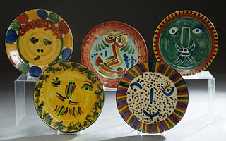 Group of Five Mexican Ceramic Face Plates, 20th c., by Talavera Vasquez, one marked TV on the back, H.- 1 3/8 in., Dia.- 11 3/4 in. (5 Pcs.)