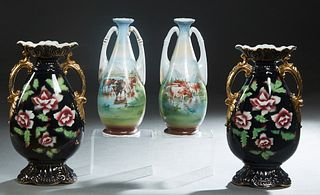 Two Pair of Victorian Handled Porcelain Baluster Vases, late 19th c., consisting of a black pair with gilt and floral decoration; and a tapered circul