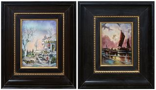 Two Limoges Enamel on Copper Curved Plaques, one of a harbor scene by moonlight; the second of a landscape in winter, both signed lower corner, each p