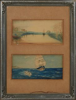 """Attributed to Thomas Somerscales (1842-1927, British), """"Ships on the Sea,"""" late 19th c., two watercolors, unsigned, presented in a single silvered rel"""